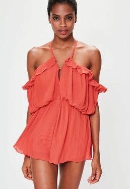 Rüschen Crinkle Playsuit in Orange