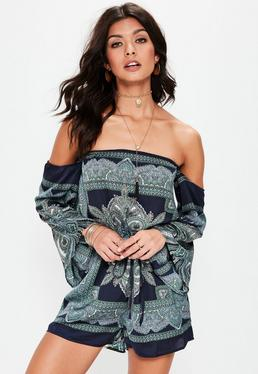 Off-Shoulder Paisley Playsuit in Navy