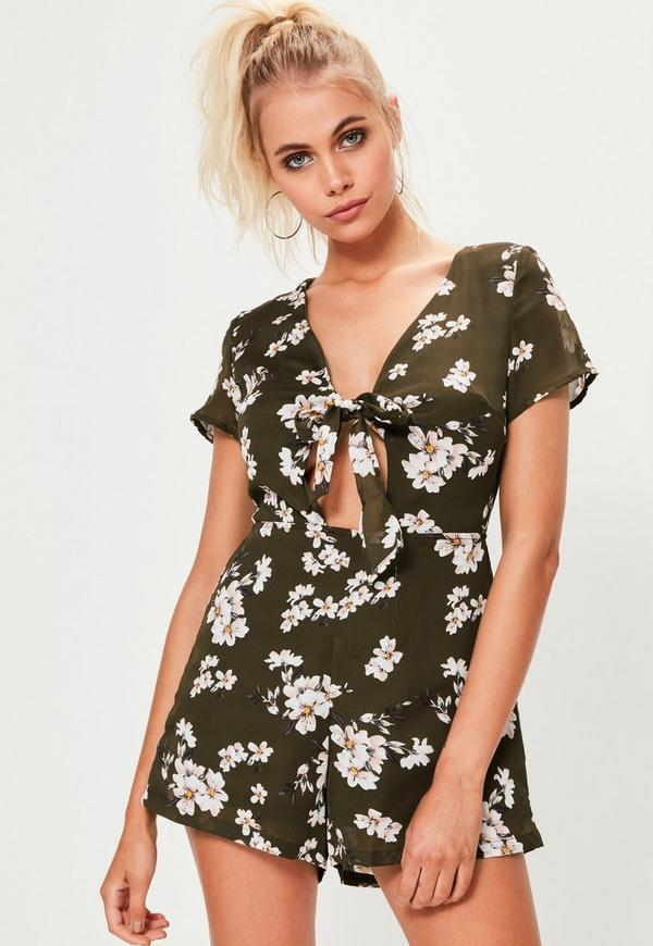 Khaki Floral Print Short Sleeve Playsuit