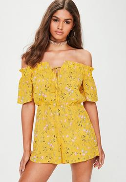 Yellow Floral Print Bardot Playsuit