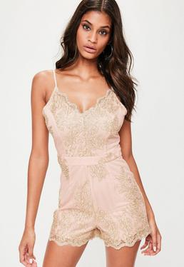 Nude Metallic Strappy Mesh Playsuit