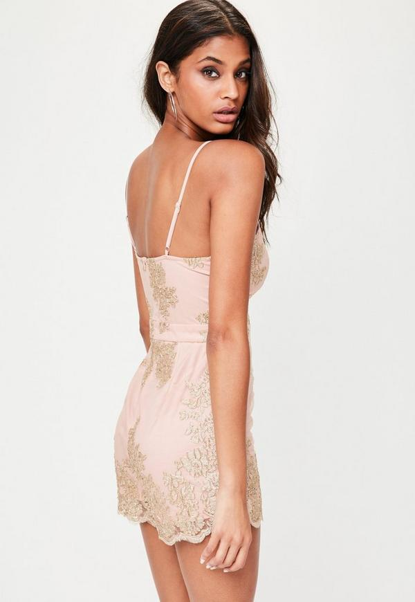 89c38a5c8c6 Nude Metallic Strappy Mesh Playsuit.  60.00. Previous Next
