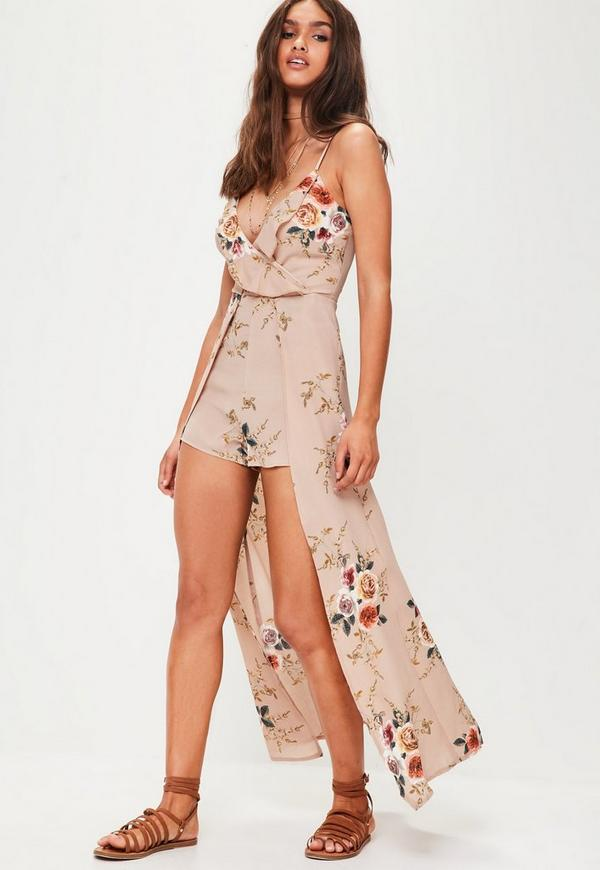 Nude Flower Print Playsuit With Maxi Overlay