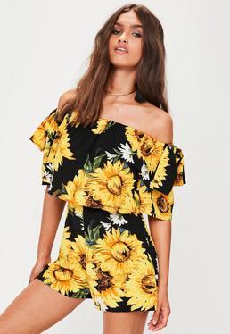 Black Sunflower Romper