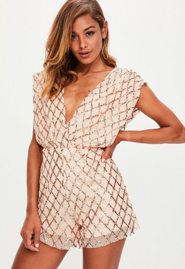 Nude Sequin V Neck Cross Detail Playsuit