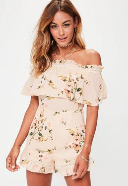 Cream Frill Bandeau Floral Playsuit