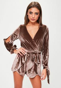 Brown Velvet Wrap Front Belted Romper