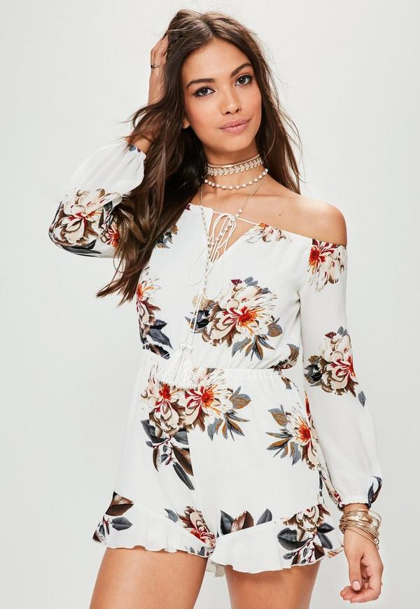 White Floral Bardot Frill Playsuit