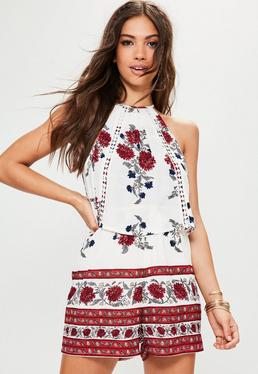White Double Layered Printed Romper