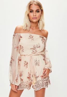 Nude Floral Sequin Bardot Playsuit