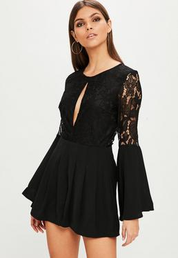 Black Flared Sleeve Lace Playsuit