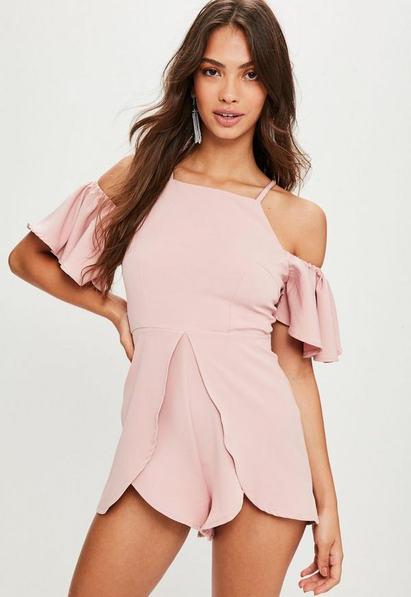 b1c835837f Pink Cold Shoulder Frill Sleeve Playsuit. Previous Next