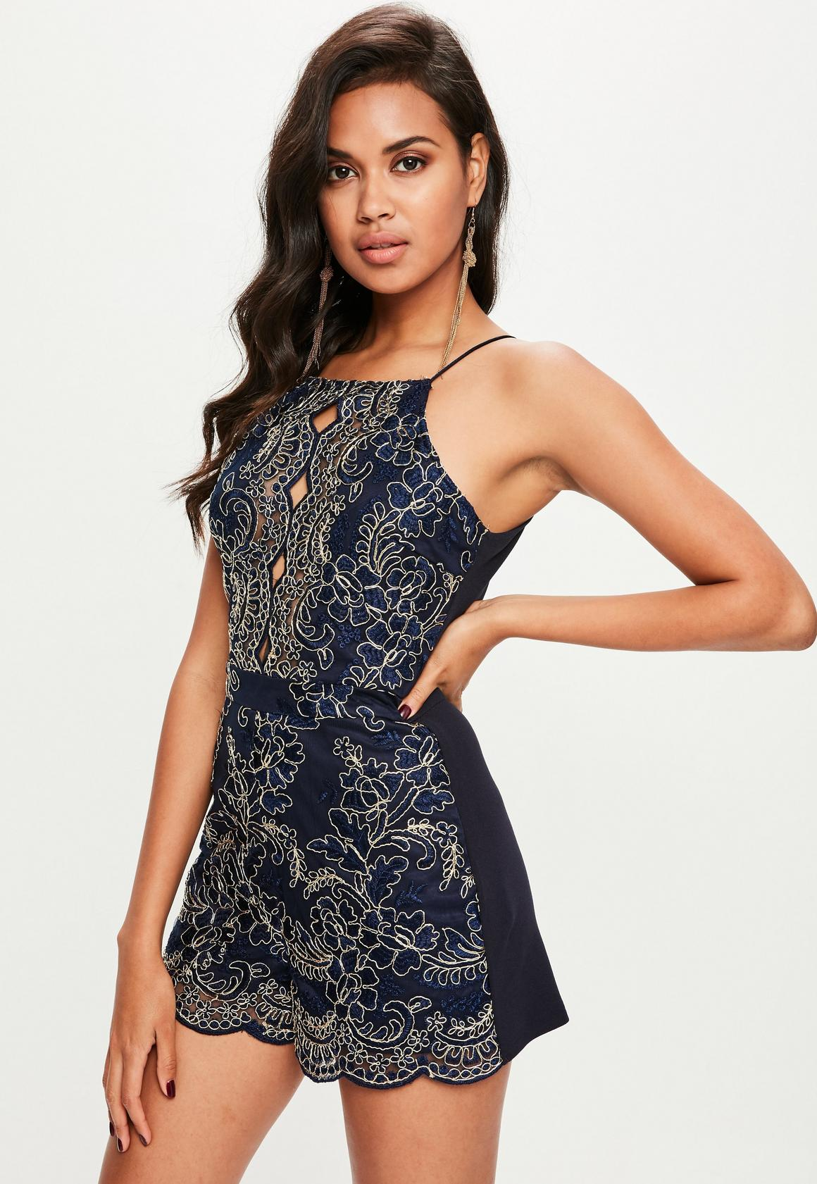 running shoes super cute reputable site Navy Metallic Lace Playsuit