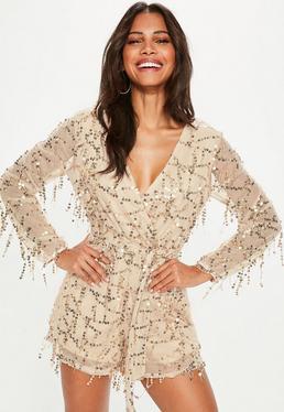 Nude All Over Sequin Tie Waist Playsuit
