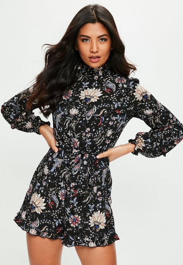 c41077fa93f4 Black Floral High Neck Playsuit | Missguided Ireland
