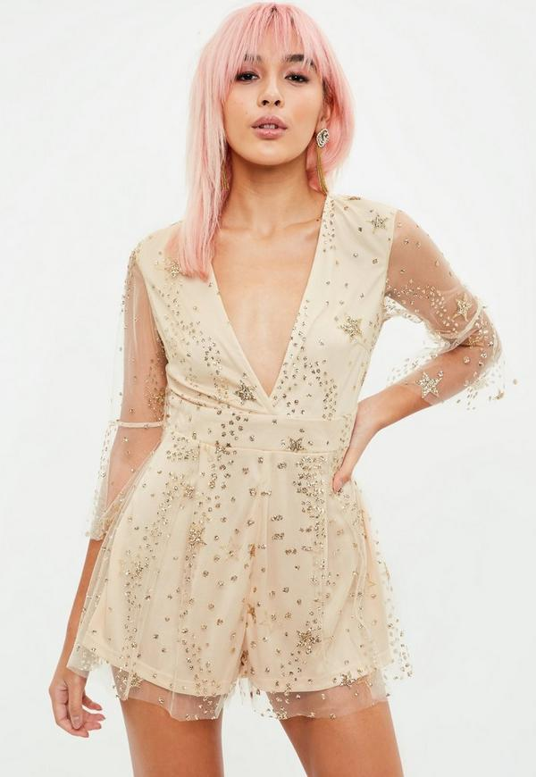50fcb8f1f6bc ... Nude Sequin Mesh Playsuit. Previous Next