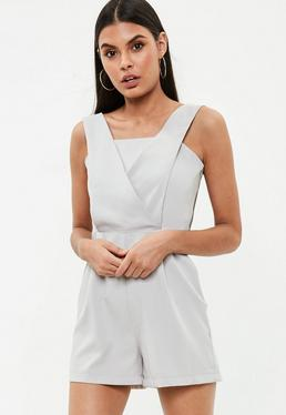 Grey Cross Front Playsuit