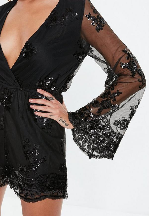 1d03f35a01 ... Black Sequin Flared Sleeve Playsuit. Previous Next