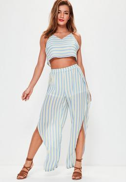 Blue Stripe Floaty Split Trousers
