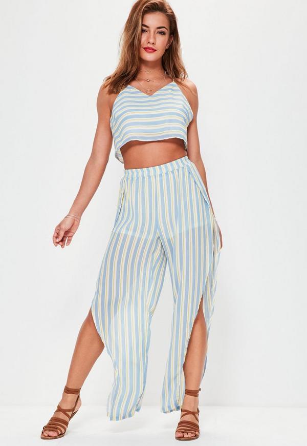 Blue Stripe Floaty Split Trousers
