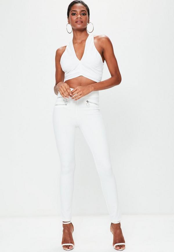 White Zip Pocket Detail Trousers
