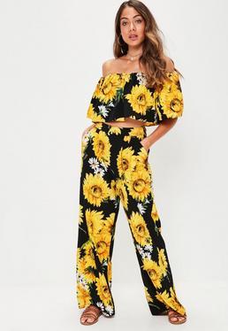 Black Sunflower Print Wide Leg Trouser
