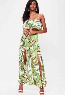 Green Floral Printed Split Side Pants