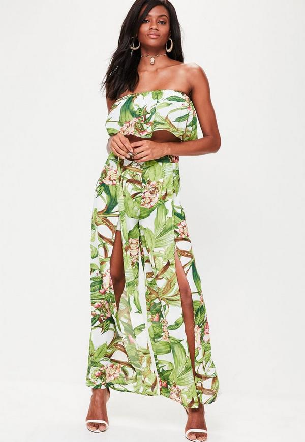 Green Floral Printed Split Side Trousers