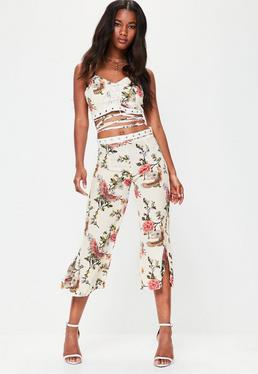 White Floral Print Culottes