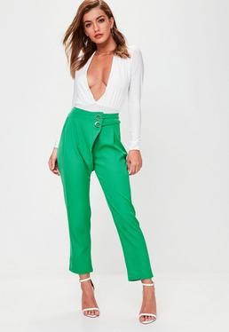 Green Eyelet Straight Leg Trousers