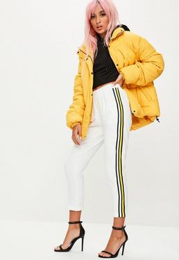 Cream Yellow Stripe Side Joggers