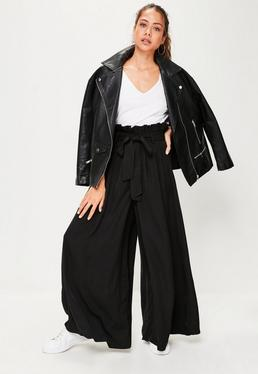 Black Paperbag Waist Wide Leg Trousers