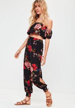 Black Floral Split Leg Trousers