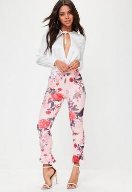 Pink Floral Printed Frill Trousers
