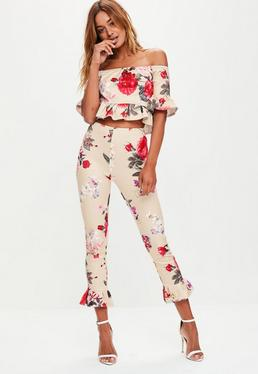 Beige Floral Print Trousers