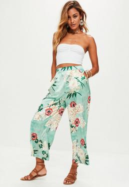 Green Wide Leg Floral Trousers