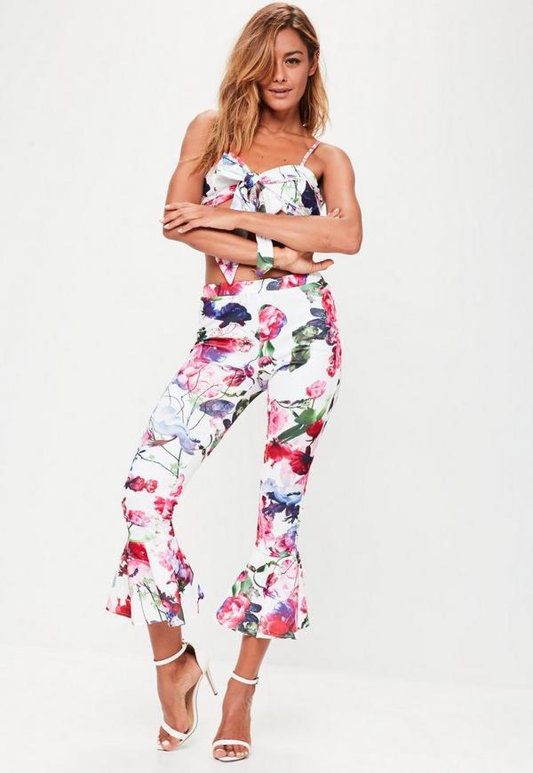 Pink Frill Hem Printed Trousers