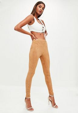 Camel Faux Suede Skinny Trousers