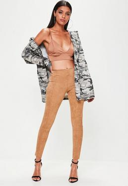 Tan Faux Suede Skinny Trousers