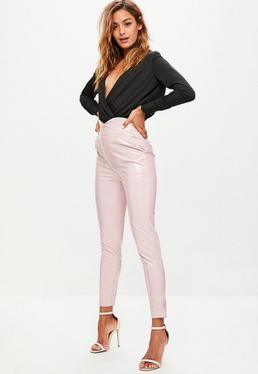 Pink High Shine Vinyl Skinny Trousers