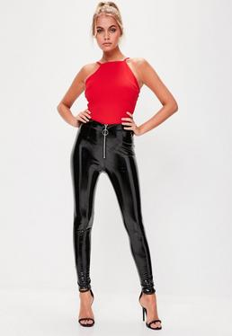 Black Zip Front High Shine Trousers