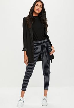 Navy Pin Stripe Carrot Leg Trousers