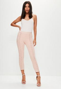 Pink Lace Up Front Faux Suede Leggings