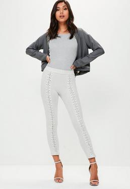Grey Lace Up Front Suedette Leggings