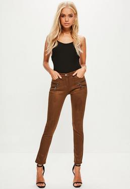 Brown Double Zip Waxed Skinny Jeans