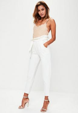 White Paperbag Waist Crop Trousers