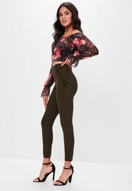 Khaki Lace Up Side Skinny Pants