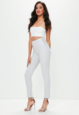 Grey Ring Side Detail Skinny Pants