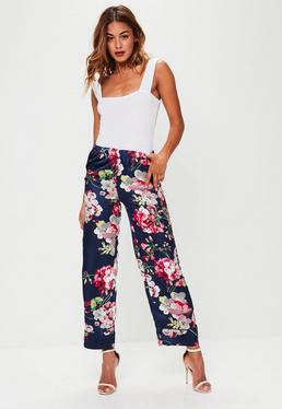 Navy Satin Floral Pants