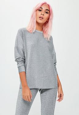 Silver Metallic Sweatshirt Pants Co Ord